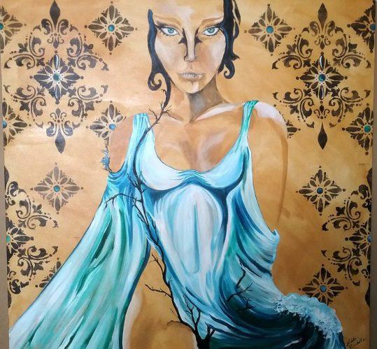 """Elemental Force"" 36"" x 36"" Acrylic on canvas $200"